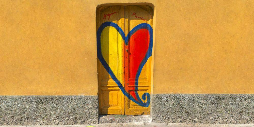 Painted-heart-on-yellow-door